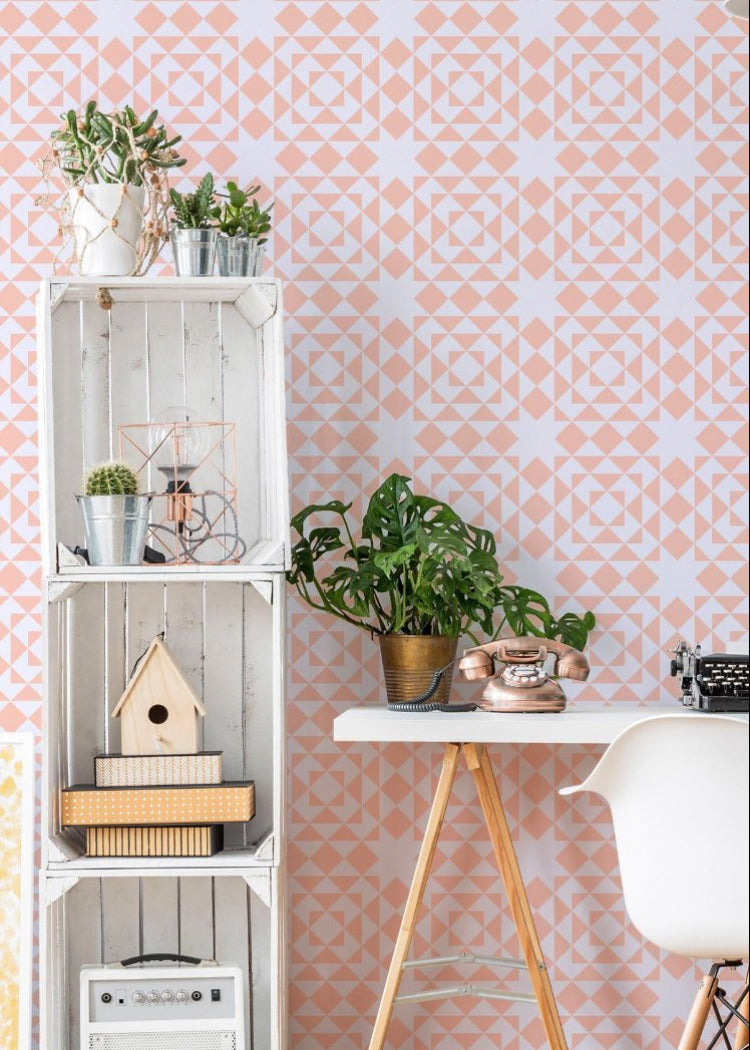 Conundrum Wallpaper - Bleached Coral & Pale Lavender - Art in Chaos