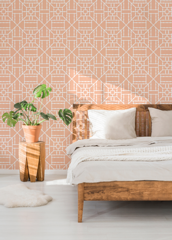 LUCKY Bamboo Coral Wallpaper - The Blush Label