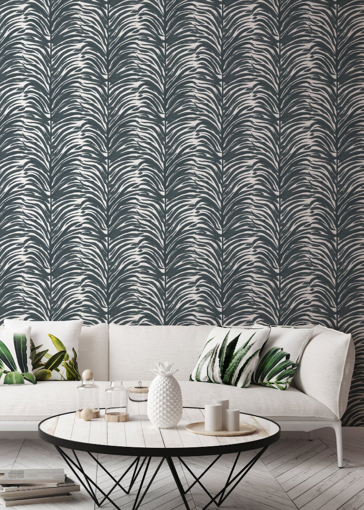 Deco Fern - Black Wallpaper - Bohemian Bungalow Collection