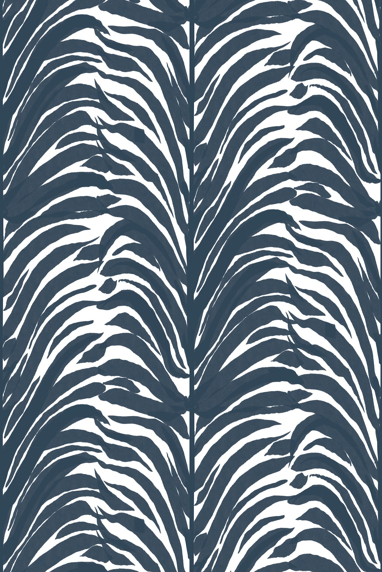 Deco Fern Fabric - Indigo