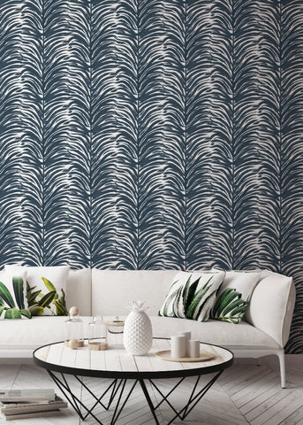 Deco Fern - Indigo Wallpaper - Bohemian Bungalow Collection