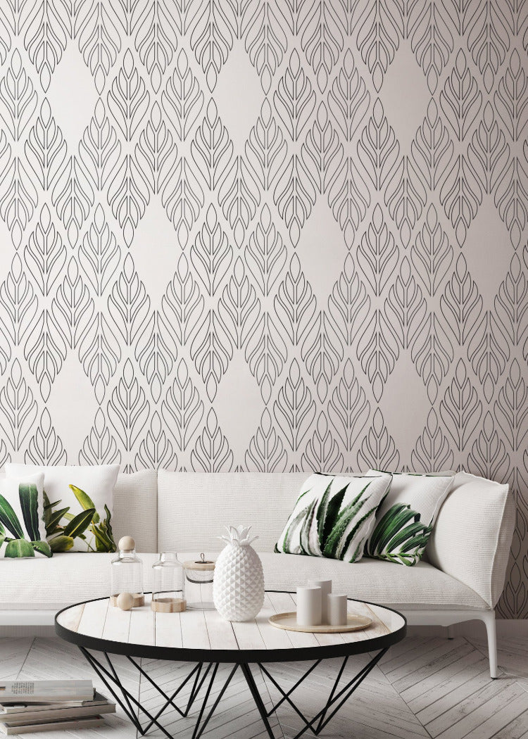 Deco Palm - Onyx Black Wallpaper - Bohemian Bungalow Collection