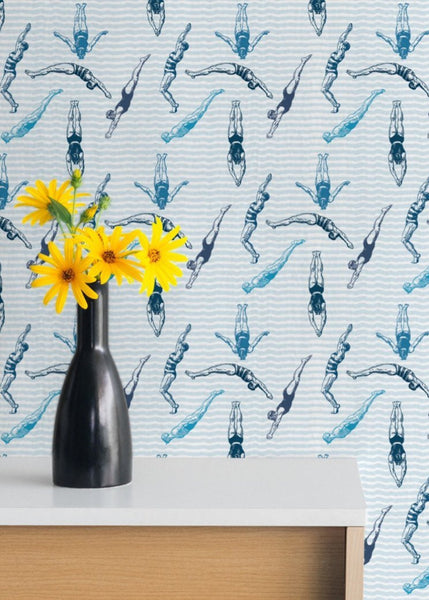 """DIVERS"" - The Blues - REMOVABLE WALLCOVERING"