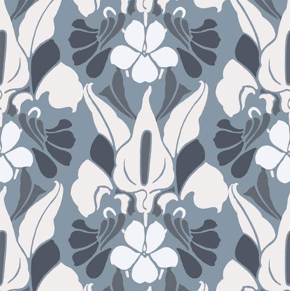 """DRAGONFLOWER"" - White/Blue/Grey - REMOVABLE WALLCOVERING"