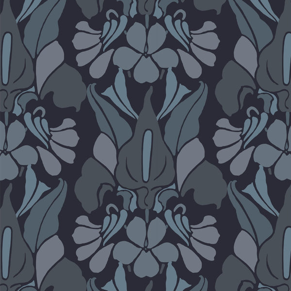 """DRAGONFLOWER"" - Grey/Blue - REMOVABLE WALLCOVERING"
