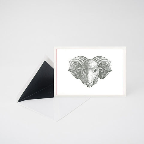 """ARIES"" LETTERPRESS BLANK NOTE CARD"