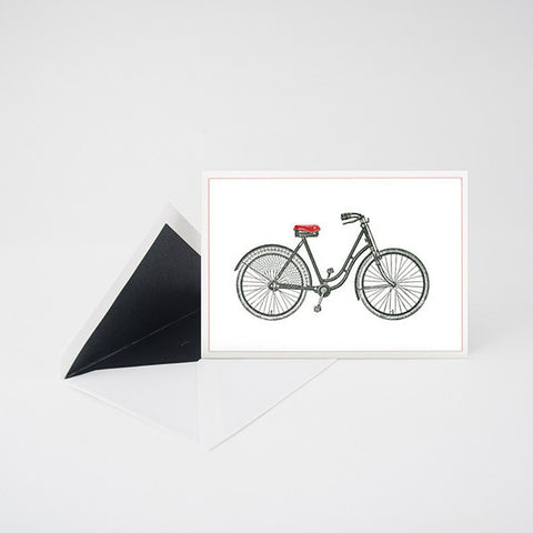 """BICYCLE"" LETTERPRESS BLANK NOTE CARD"
