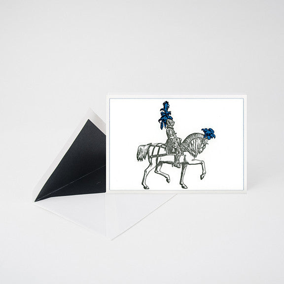 """PLUME KNIGHT"" LETTERPRESS BLANK NOTE CARD"