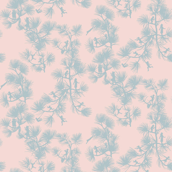 """FAIRY FOREST"" in Baby Pink REMOVABLE WALLCOVERING"