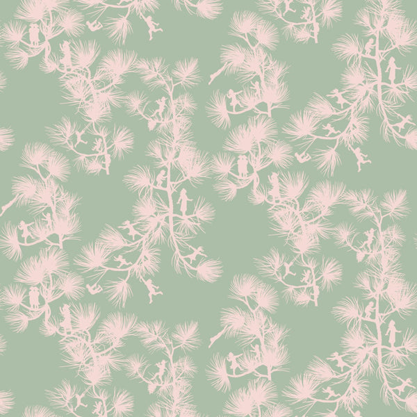 """FAIRY FOREST"" in Celadon REMOVABLE WALLCOVERING"