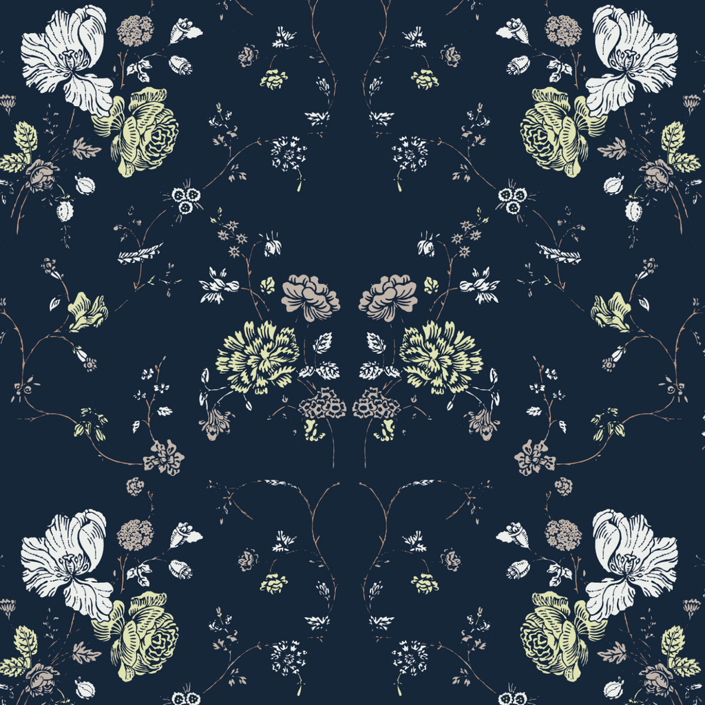 Floral Lace - Deep Sea Wallpaper - Nomad Collection