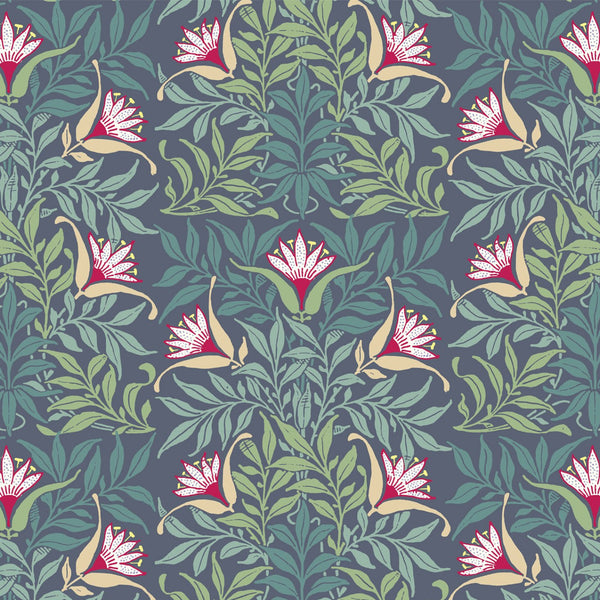 """FLOWERVINE""- Blue/Green - REMOVABLE WALLCOVERING"