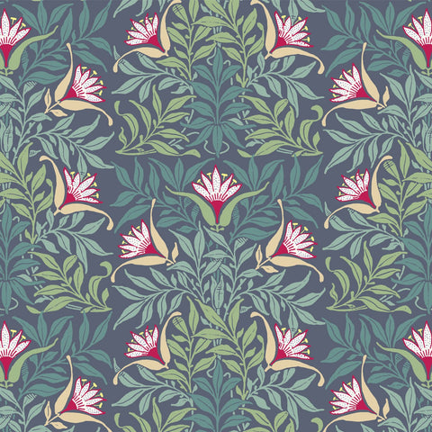 Flowervine - Blue/Green Wallpaper - MB SIGNATURE