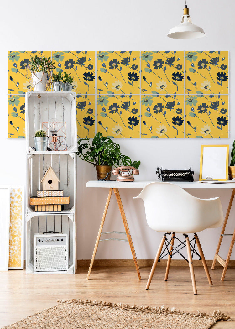 Wall Tile Flowers in Saffron Yellow
