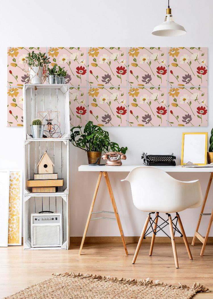 Flowers in Peach - Easy Wallpaper Tiles