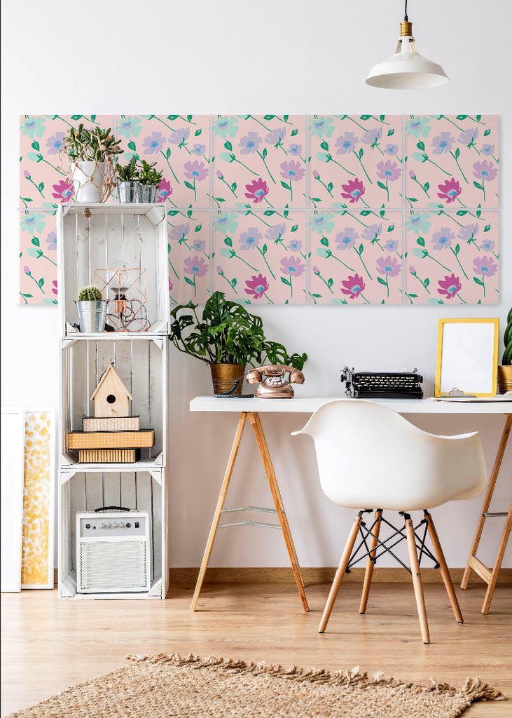 Wall Tile Flowers in Pale Pink