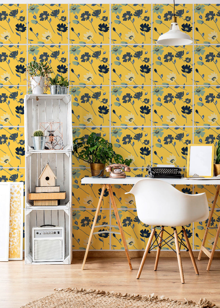 Wall Tile Spring Flowers in Saffron Yellow