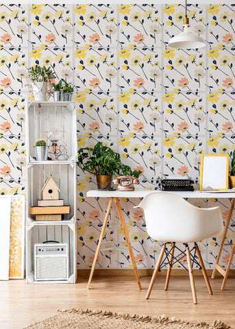 Wall Tile - Flowers in Cream