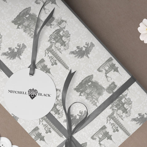 Pagoda Toile Gift Wrap - Moon & Midnight