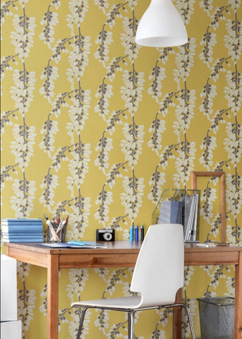 LUCKY Heart Breaker - Dusty Yellow Peel & Stick Wallpaper - Nomad Collection