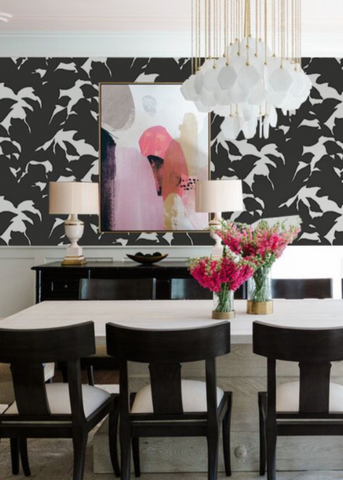 Holly - Jet Black Wallpaper - Mrs Paranjape Papers