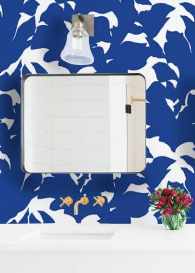 Holly - Yves Blue Wallpaper - Mrs Paranjape Papers