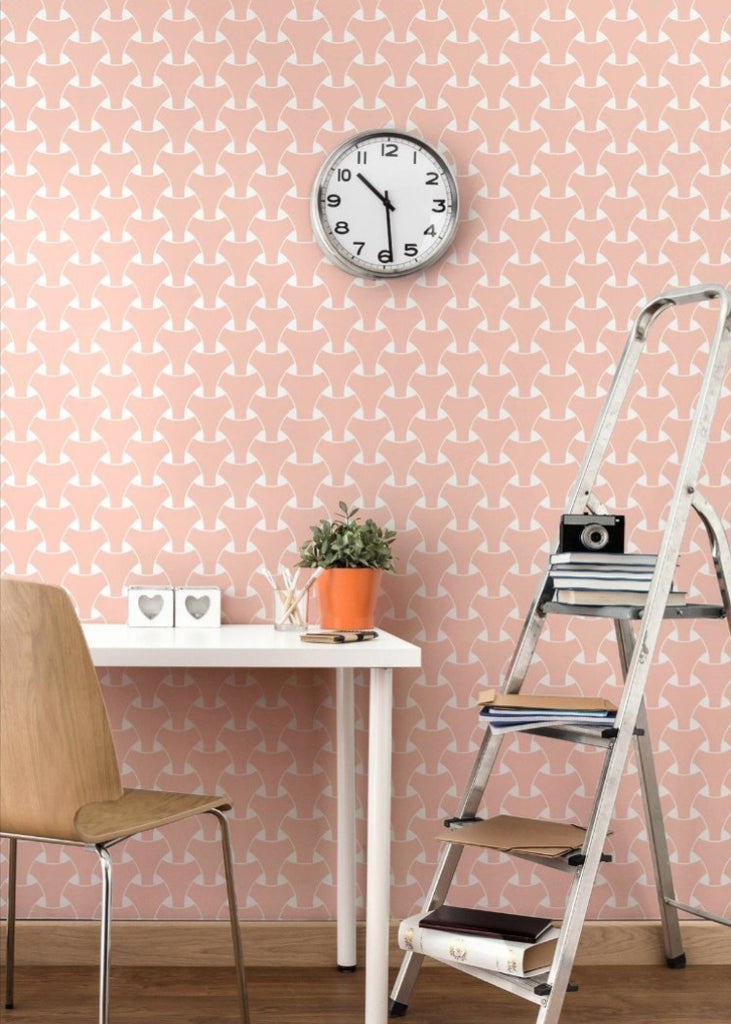Island Weave - Bleached Coral Wallpaper - Art in Chaos