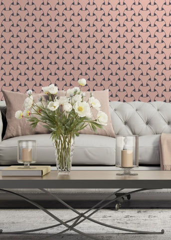 Island Weave - Bleached Coral & Plum Grey Wallpaper - Art in Chaos