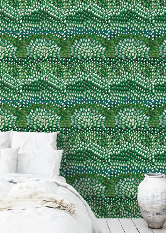 Jardine - Black & Green Wallpaper - JULIANNE TAYLOR STYLE