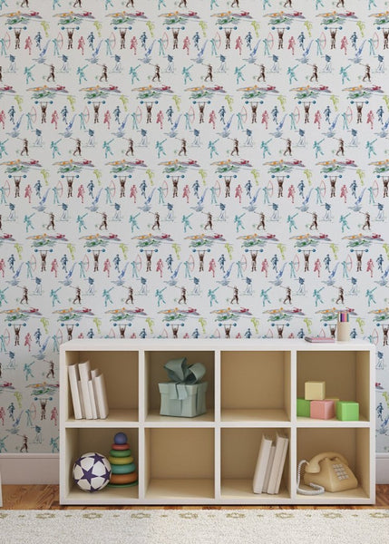 Sports Toile Wallpaper - MB BABY