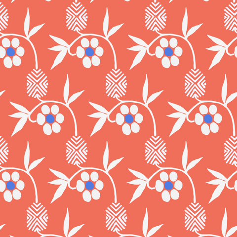 Kimono Flower - Cayenne Wallpaper - Nomad Collection