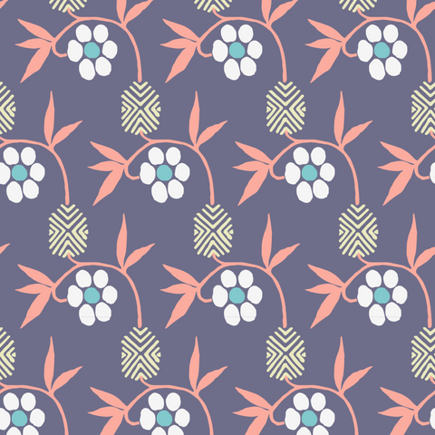 Kimono Flower - Dusty Plum Wallpaper - Nomad Collection