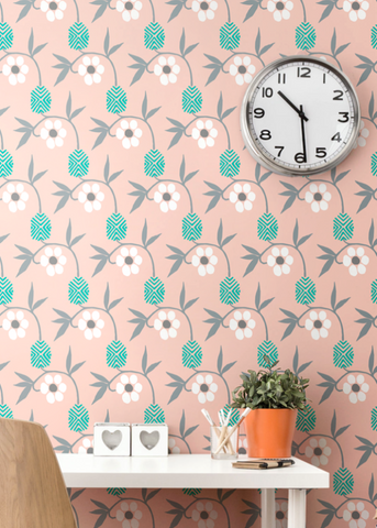 Kimono Flower - Bleached Coral Wallpaper - Nomad Collection