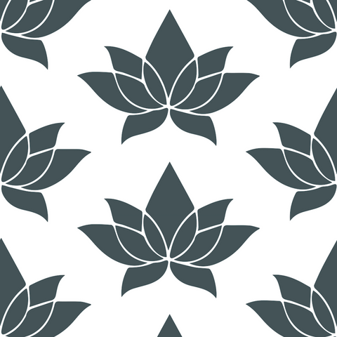 Lotus - Black Wallpaper - Bohemian Bungalow Collection