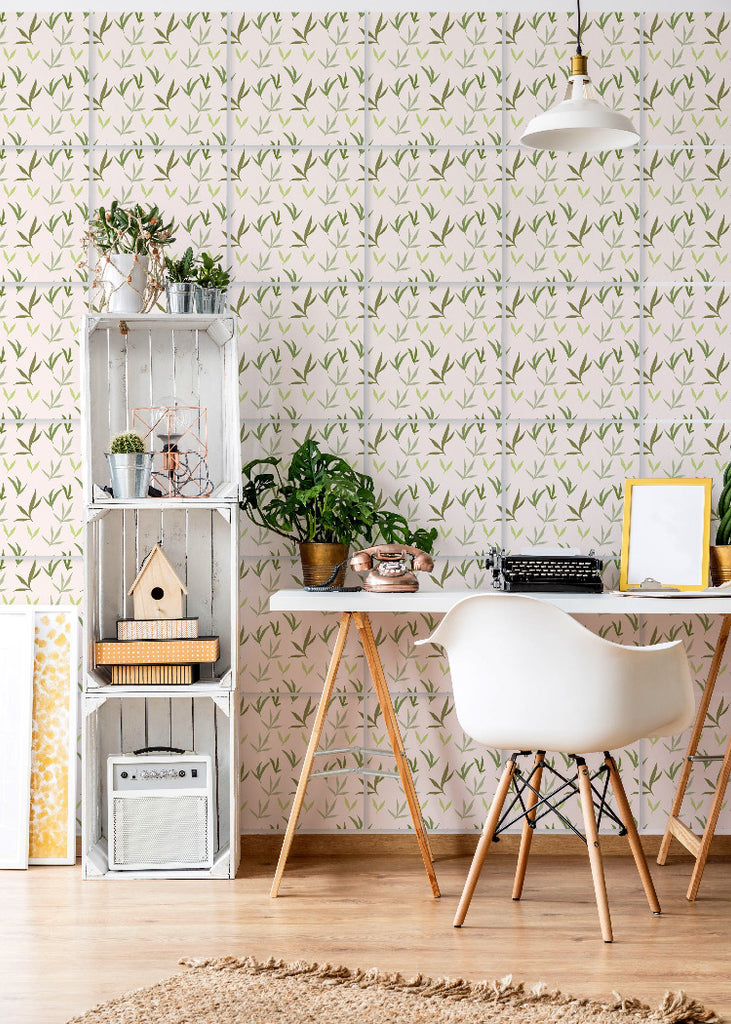 Leaves in Signature Green - Easy Wallpaper Tiles