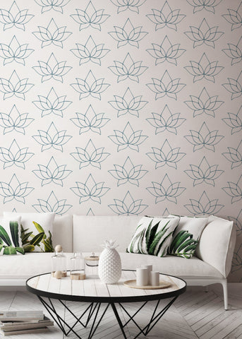Lotus - Blue Lines Wallpaper - Bohemian Bungalow Collection