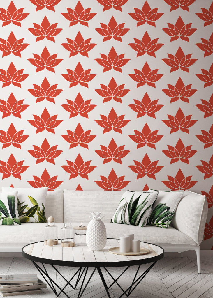 Lotus - Coral Wallpaper - Bohemian Bungalow Collection