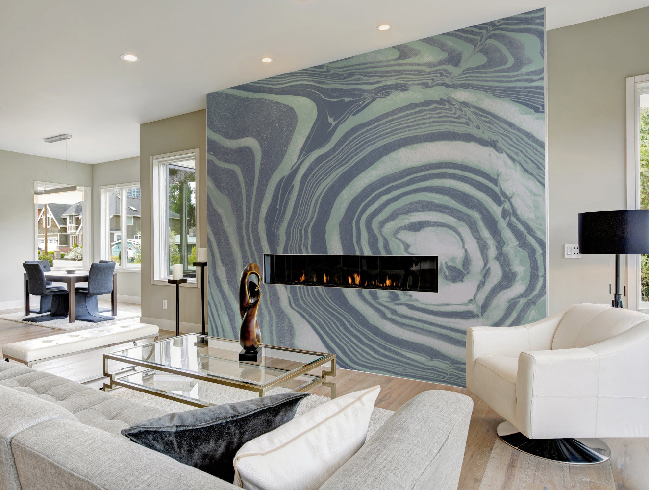 True Blue Marble  Wallpaper - Mitchell Black Murals