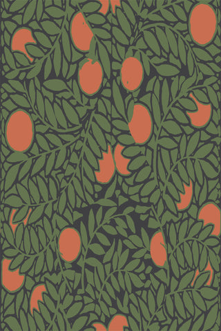 Orange Grove Fabric - Forest Green