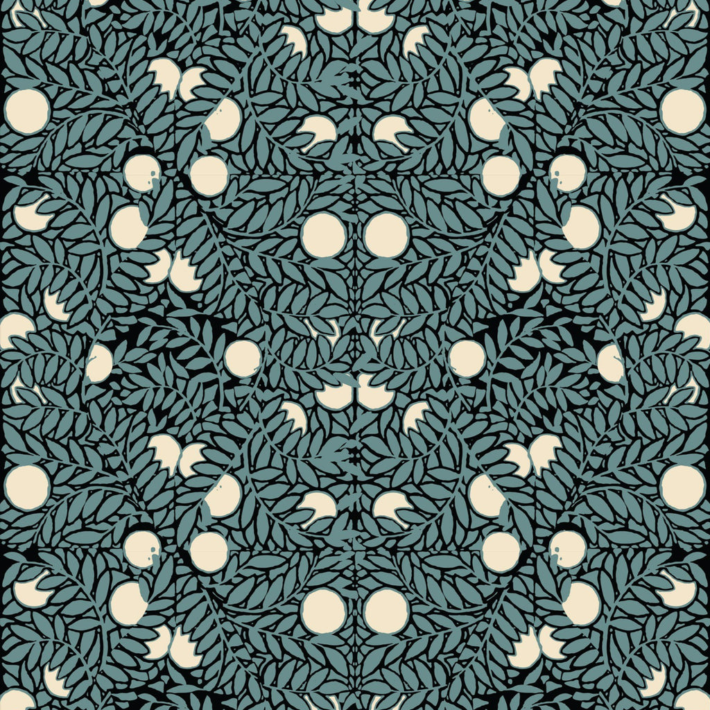 LUCKY Orange Bush - Blue/Cream Wallpaper - MB SIGNATURE