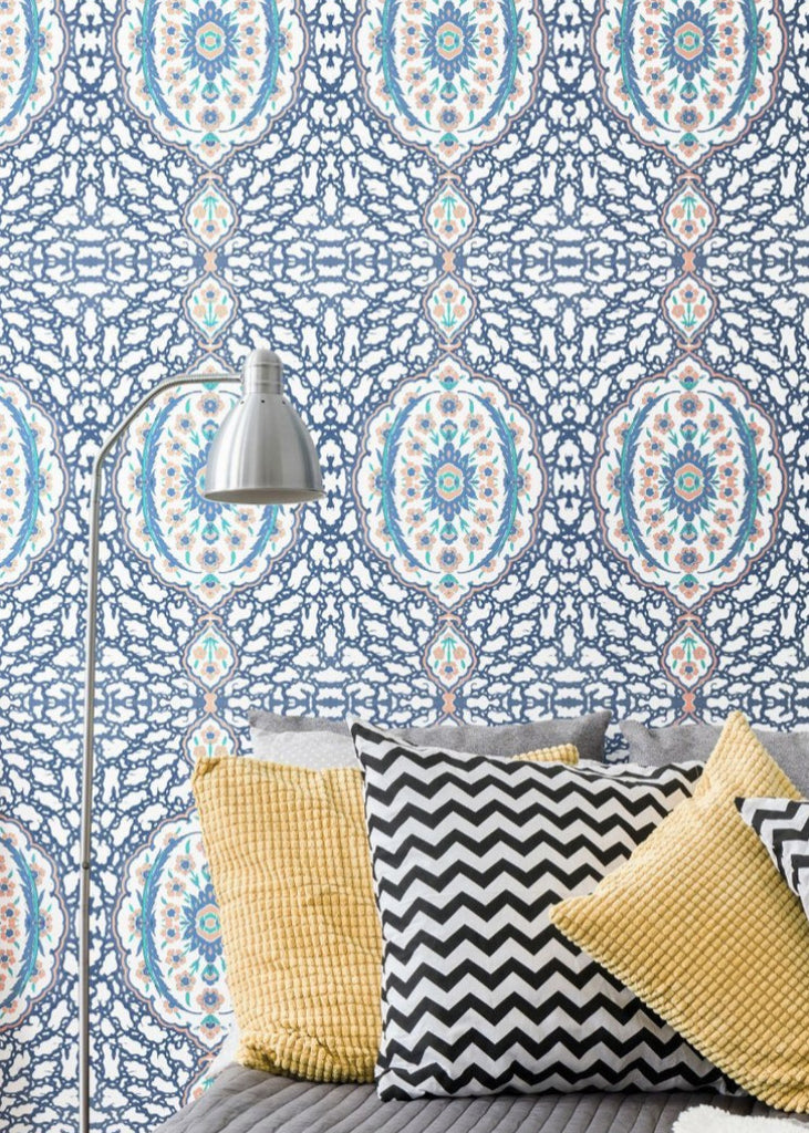 Ottoman Jewel - Blues & Coral  LIMITED EDITION WALLPAPER DOUBLE ROLL