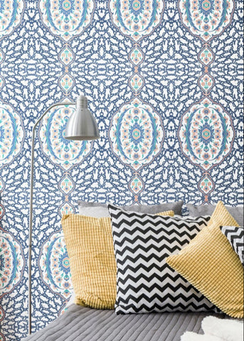 LUCKY Ottoman Jewel - Blues & Coral Peel & Stick Wallpaper - Nomad Collection