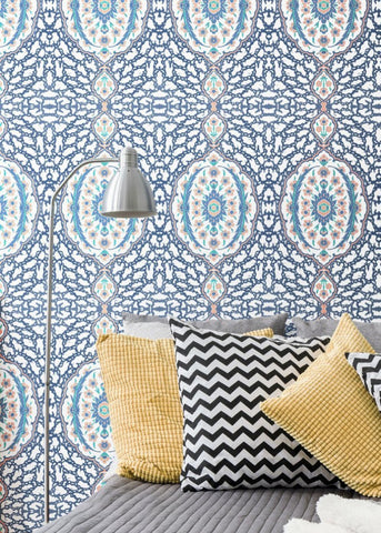 LUCKY Ottoman Jewel - Blues & Coral Wallpaper - Nomad Collection