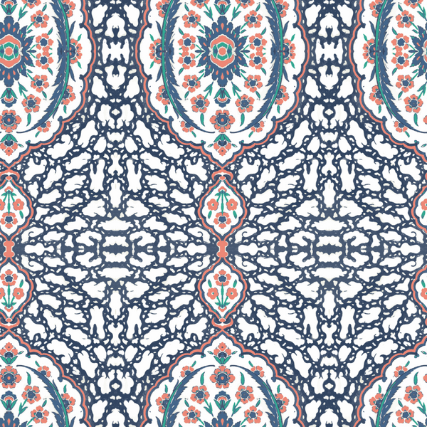 Ottoman Jewel - Blues & Coral