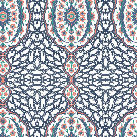 Ottoman Jewel - Blues & Coral Wallpaper - Nomad Collection
