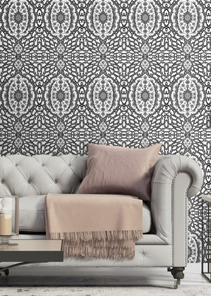 LUCKY Ottoman Jewel - Greys Wallpaper - Nomad Collection
