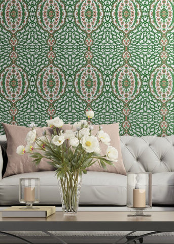 LUCKY Ottoman Jewel - Kelly Green Wallpaper - Nomad Collection