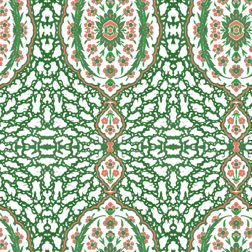 LUCKY Ottoman Jewel - Kelly Green Peel & Stick Wallpaper - Nomad Collection