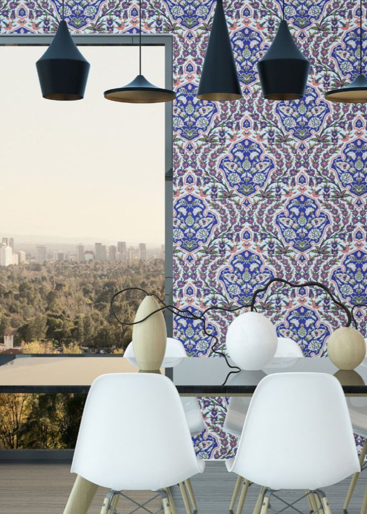 Ottoman Large - Blues & Coral Wallpaper - Nomad Collection