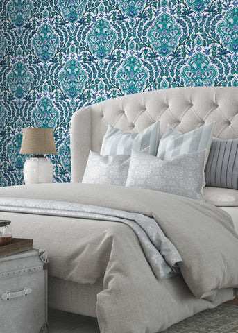 Ottoman Large - Turquoise Wallpaper - Nomad Collection